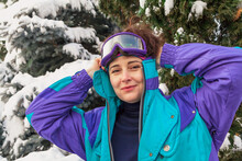 Portrait Of Girl In Ski Goggles
