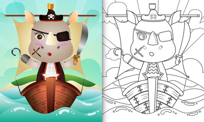 coloring book for kids with a cute pirate rhino character illustration on the ship