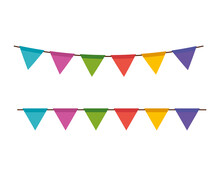 Garlands Party Colors Decoration Hanging Vector Illustration Design