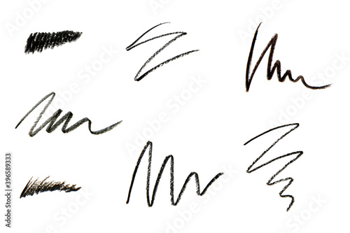 Cosmetic pencil samples isolated on a white background Wallpaper Mural