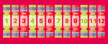 The 12 Days Of Christmas - Festive Numbered Crackers On A Red Background