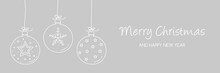 Christmas Banner With Hanging Baubles With Decorations. Vector