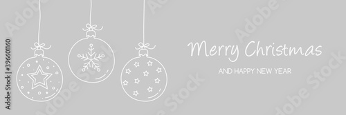Canvas Print Christmas banner with hanging baubles with decorations. Vector