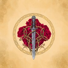 Celtic Sword With Trinity Cnot And Roses On Antique Background. Digital Painting.