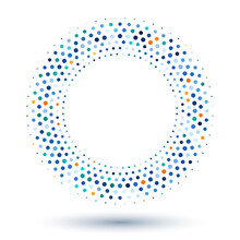 Halftone Dotted Circle Blue Colors With Shadow As Icon Or Logo Symbol