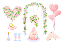 Wedding Elements Vector Illustration. Cartoon Pink Wedding Decoration Collection With Heart Shaped Balloons, Bride Groom Jewelry Rings, Dove Birds, Cake And Decorative Flower