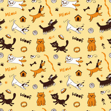 Dogs And Cats Seamless Pattern