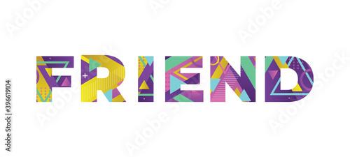 Carta da parati Friend Concept Retro Colorful Word Art Illustration