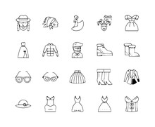 Fancy Dress Line Icons Signs Set Outline Vector Dress, Icon, Line, Woman, Fancy, Sign, Outline, Icons, Set, Symbol, Vector, Illustration