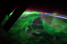 A View Of The Night Earth Taken Aboard The International Space Station ISS Showing An Aurora.