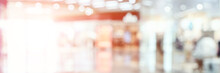 Empty Blurry Mall Background. DeFocused Wallpaper. Business Office Interior. Light Lifestyle Supermarket. Bokeh Effect. Holiday Backdrop. Copyspace For Text. Ready For Card Or Site Design