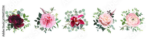 Fototapeta Burgundy red peony, dusty pink rose, orchid, blush ranunculus flowers obraz
