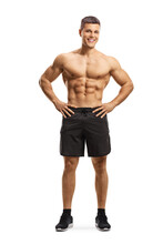 Full Length Portrait Of A Fit Muscular Man With Naked Torso