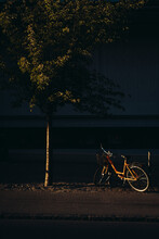 View Of Bicycle Parked On Road At Night