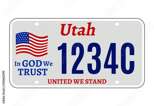 Obraz na plátně Utah car license plate usa number vector retro sign