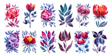 Set Watercolor Abstract Pink, Purple, Red Flower Rose, Peony, Tulip Isolated On White Background. Art Creative Object For Celebration, Wedding, Sticker, Florist, Wallpaper, Wrapping