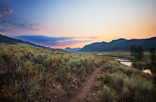 Soda Butte Creek At The Lamar Valley Trailhead Before Dawn On A Summer Morning. Yellowstone National Park, Wyoming