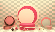Pink Cylinder Podium With Ring Surrounded By Ico Sphere, Isolated On Cream Checkerboard Background, Can Be Used For Product Display, Branding, Showcase, Cosmetic Display, Advertising. 3D Render.
