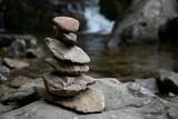 Fototapeta Kamienie - meditation rocks with a waterfall background