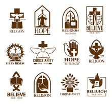 Christian Church Parish Or Community Icons Set. Religion School And Bible Learning Lectures, Religious Commune Symbol Or Emblem With White Dove, Crown Of Thorns And Crucifixion, Monks Outline Vectors