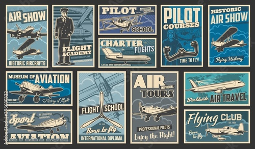 Foto Plane flying and aircraft flight, aviation vintage retro retro posters, vector