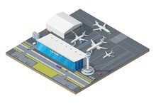 Isometric Airport Building With Airplanes On Runway And Traffic Control Tower. 3d Vector Passenger Terminal Infrastructure, Airport Facade With Facilities And Transport Bus, Taxi Cars And Fuel Trucks