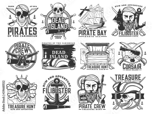 Fototapeta Pirate icons, vector Jolly Roger skulls or skeleton heads, black flag, captain tricorn sailor hat, crossed bones, swords or sabers and anchor with spyglass