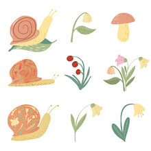 Set Snail And Flower On White Background. Funny Cartoon Character: Snail, Lily Of The Valley, Bellflowers, Mushroom, Leaf, Berry In Doodle Style.