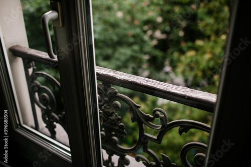 Cuadros en Lienzo Iron Railing in Window in Paris