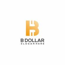 Logo Illustration B Dollar Gradient Colorful Vector Design