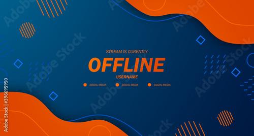 modern twitch background screensaver offline stream gaming orange fluid with memphis style
