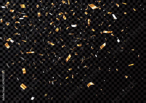 Fotografía Gold confetti background, isolated on transparent background
