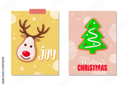 Cuadros en Lienzo Jo and Merry Christmas celebration posters set vector