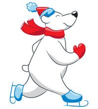 Skating Polar Bear Cartoon. Polar Bear Wearing A Hat, Scarf, Mittens, And Ice Skates.