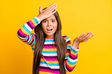 Photo Of Small Puzzled Girl Facepalm Unexpected Fail Expression Wear Striped Shirt Isolated Yellow Color Background