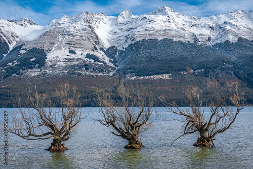 Lake in the snow mountains of New Zealand, South Island. © sardinelly