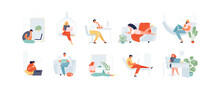 People Working At Home. Freelance And Remote Work. Distance Learning Students Vector Illustration