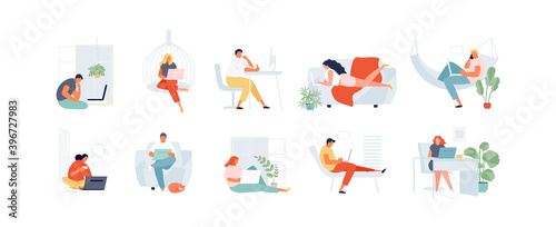Obraz People working at home. Freelance and remote work. Distance learning students vector illustration - fototapety do salonu