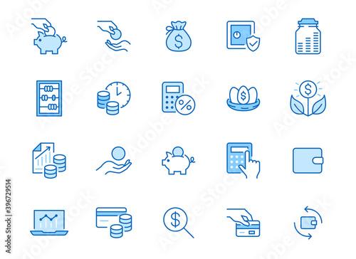 Fotografia Money income line icon set