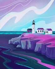 Lighthouse In The Sea. Neon Colors Landscape. Travel Background