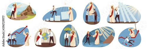 Religion, business, support set concept Canvas