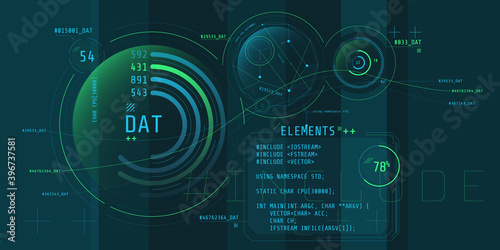 Obraz Composition of computer HUD interface with Coding. - fototapety do salonu