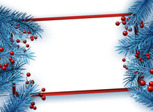 Blue Fir Twigs Christmas Background With Red Berries.