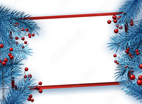 Fototapeta Blue fir twigs christmas background with red berries. obraz