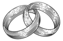 Wedding Rings Or Bands Intertwined In A Vintage Woodcut Retro Style
