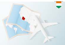 Travel To Ivory Coast, Top View Airplane With Map And Flag Of Ivory Coast.
