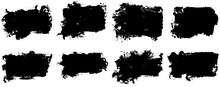 Black Paint Brush Strokes, Dirty Inked Grunge Art Brushes. Dirty Ink Texture Splatters. Grunge Rectangle Text Boxes