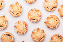 Mince Pies, Traditional Christmas Food From All Butter Shortcrust Pastry Filled With Cranberries, Sultanas, Currants, Raisins, Along With Festive Spices, Clementine Juice, Dash Of Brandy And Cognac