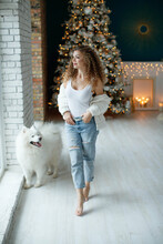 A Beautiful Woman With A White Samoyed, Hugs, Against The Background Of A Christmas Tree With Candles In A Decorated Room In Christmas. Happy New Year. High Quality Photo.