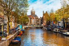 Romanti Canals Of Beautiful Amsterdam , Capital City Of Netherlands